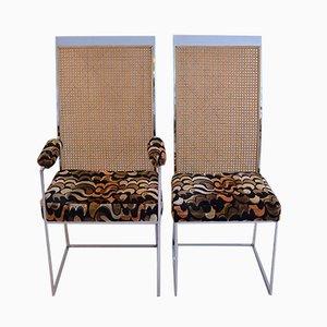 Chaises de Salle à Manger en Rotin Noir avec Tissu d'Ameublement par Milo Baughman pour Thayer Coggin, 1975, Set de 2