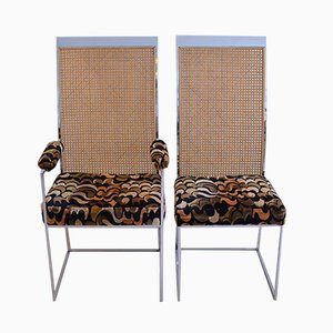 Rattan Back Dining Chairs with Fabric Upholstery by Milo Baughman for Thayer Coggin, 1975, Set of 2
