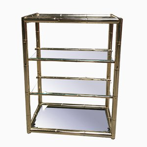 Mid-Century Bamboo Styled Gilded Metal & Glass Etagere
