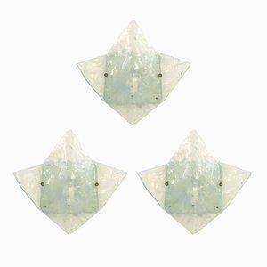 Lampade da parete in vetro di Carlo Nason per Mazzega, anni '60, set di 3