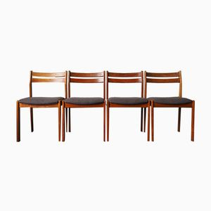 Mid-Century Danish Dining Chairs in Teak & Reupholstered Fabric