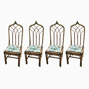 Mid-Century Italian Bamboo Dining Chairs with Floral Cushions, 1960s, Set of 4