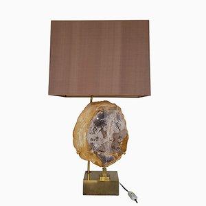Lámpara de mesa de madera petrificada con base de latón de Willy Daro, años 70