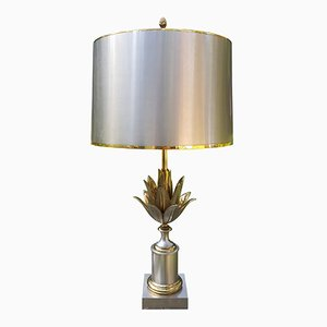 French Brass Artichoke Table Lamp from Maison Charles, 1970s