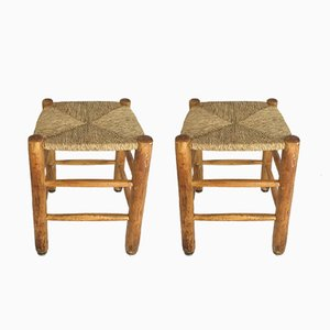 17 Straw Stools by Charlotte Perriand, 1950s, Set of 2