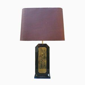 Lámpara de mesa con grabados de Georges Mathias, años 70