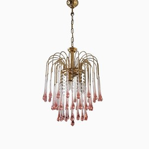 Gilt Chandelier with Murano Glass Teardrops by Paolo Venini for S.A.L.I.R. Murano, 1970s