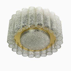Flush Mount Ice Glass & Brass from Doria Leuchten, 1960s