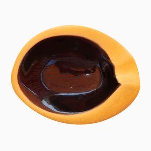 Vide Poche in gelber & schwarzer Keramik von Elchinger, 1950er