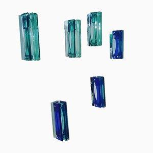 Apliques de vidrio de Velca, años 70. Juego de 6