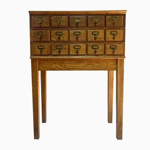 Mid-Century Haberdashery Oak Chest Of Drawers