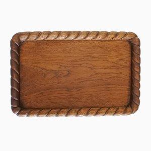 Vassoio in legno di quercia massiccio lavorato a mano, anni '50