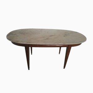 Tavolo da pranzo Impero in legno e marmo, inizio XX secolo