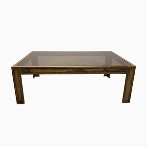 Vintage Brass & Smoked Glass Table