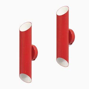 Lámparas de pared escandinavas en rojo de Jonas Hidle para Høvik Lys, años 70. Juego de 2