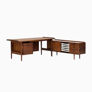 Danish Desk with Side Cabinet by Arne Vodder for Sibast, 1960s
