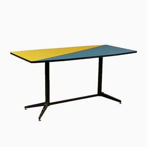 Mid-Century Italian Formica & Lacquered Metal Table