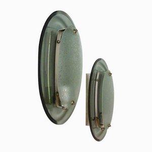 Lámparas de pared de vidrio curvado de Fontana Arte, años 60