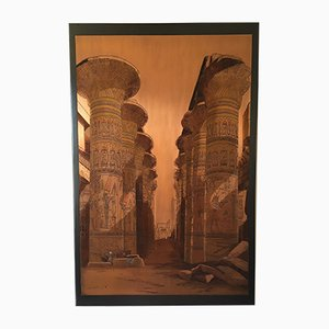 Vintage Temple of Isis Engraving on Metal Plate by El Shami