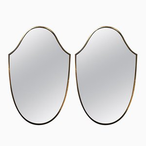 Italian Mirrors in Brass, 1950s, Set of 2