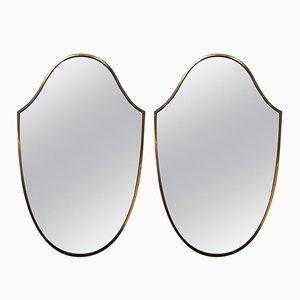 Italienischer Spiegel aus Messing, 1950er, 2er Set