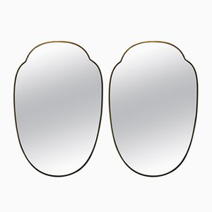 Shield Shaped Mirrors in Brass, 1950s, Set of 2