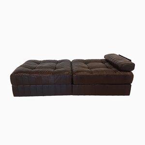 Sofá cama DS-88 de cuero marrón de de Sede, años 70