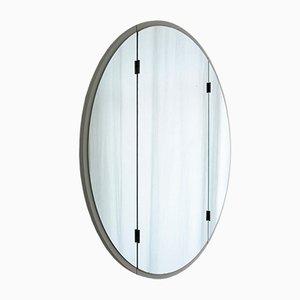 Espejo de peluquería de tres piezas grande blanco con bizarras laterales, años 50