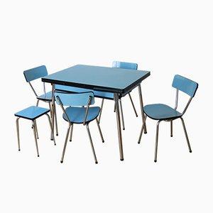 Tavolo da pranzo con quattro sedie e sgabello, anni '50