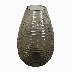 Large Ribbed Teardrop Vase by A.D. Copier for Leerdam Glassworks, 1950s
