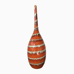Jarrón alemán grande de cerámica Lava hecho a mano, años 70
