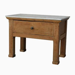 Tavolo antico da macellaio con ripiano in marmo