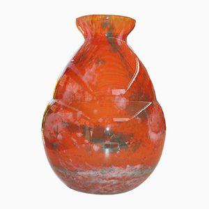 Art Deco Marble Glass Vase from Lorrain Daum, 1920s