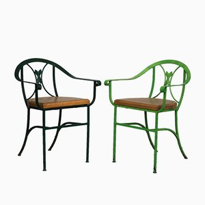 Vintage Garden Chairs with Armrests, Set of 2