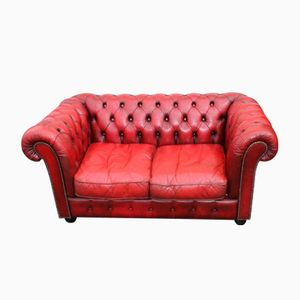 Deep Red Buttoned Two-Seater Chesterfield Sofa, 1960s