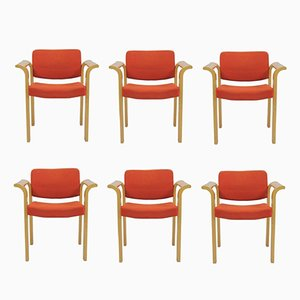Conference Armchairs by Rud Thygesen & Johnny Sørensen for Magnus Olesen, 1970s, Set of 6