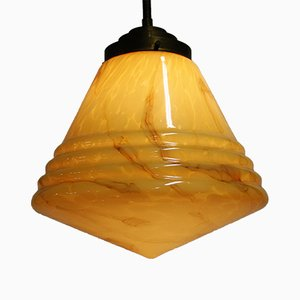 Conical Marble Pendant Light, 1930s