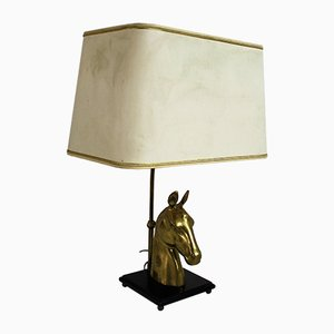 Brass Horse Head Table Lamp, 1970s