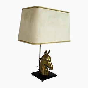 Lámpara de mesa con cabeza de caballo de latón, años 70