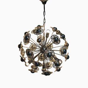 Lámpara de araña Sputnik de cromo, años 60