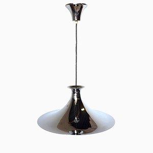Lámpara semi colgante danesa Mid-Century de cromo
