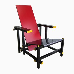 635 Red & Blue Armchair by Gerrit Thomas Rietveld for Cassina, 1986