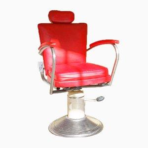 Silla de barbería de cuero rojo, años 60