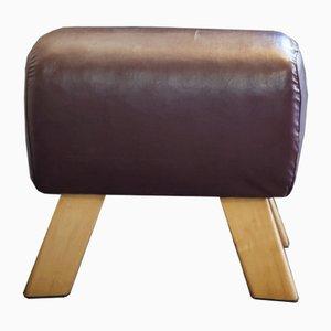 Taburete vintage de cuero marrón oscuro