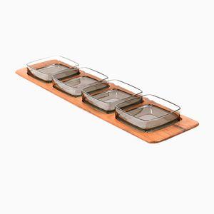 Mid-Century Tablett aus Teak mit Glasschüsseln von Digsmed