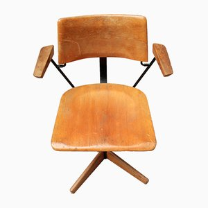 Holson Beech & Steel Swivel Chair by Arno Votteler for Stoll Giroflex, 1960s