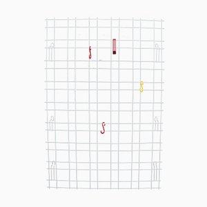 Portemanteau Plat Blanc en Câbles avec Crochets Colorés, 1960s