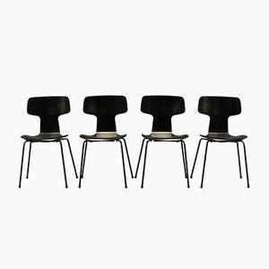 Sillas Hammer modelo 3103 de Arne Jacobsen para Fritz Hansen. Juego de 4