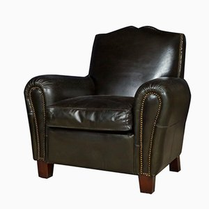 Vintage Black Leather Club Chair