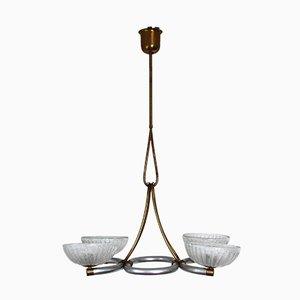 Lámpara de techo de cristal de Murano de Barovier & Toso, años 40